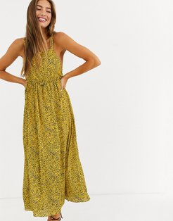 cami midi dress in ditsy floral-Yellow