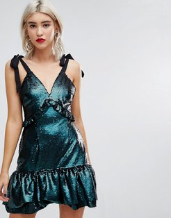 Dress With Ribbon Tie Sleeves And Ruffles In Sequin-Blue