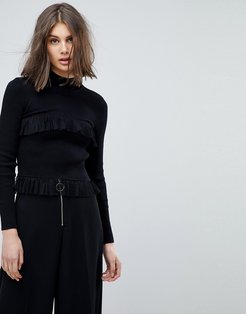 High Neck Sweater With Rib & Ruffle Details-Black