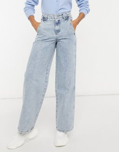 high waist vintage fit jeans with panels in mid wash-Blues