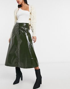 midi circle skirt with button front in olive faux leather-Green