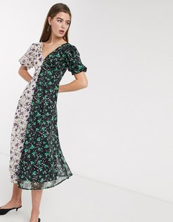 midi tea dress with back detail in mixed floral prints-Multi