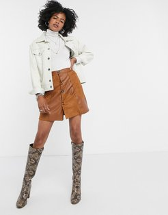 mini skirt in faux suede patchwork-Brown