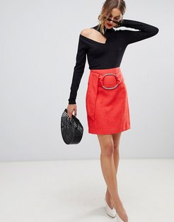Mini Skirt With Buckle Belt-Red