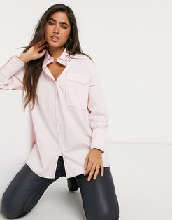 oversized longline shirt with contrast stich-Pink