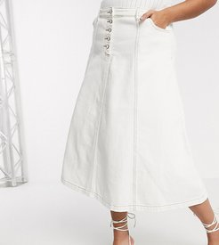 a line skirt with button front in vintage wash denim-White