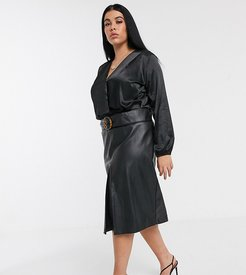 belted midi skirt in faux leather-Black