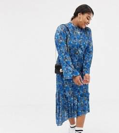 pleated midi dress with tie back detail in bluebell floral print-Blues