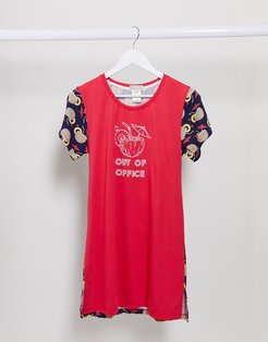 out of office coconut nightshirt-Red
