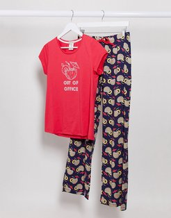 out of office coconut pyjama set-Red