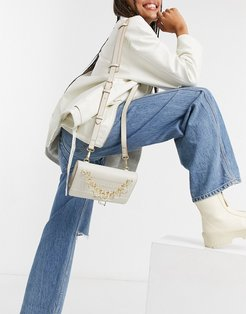 cross body bag with chain in ivory-Cream