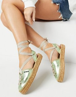 lace up espadrilles in green