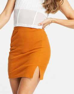 knitted mini skirt with slit in orange-Purple