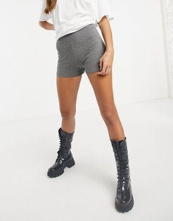 knitted ribbed shorts in gray-Grey