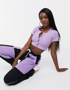 lettuce hem cropped t-shirt in purple