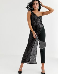 one shoulder jumpsuit with draped front in black glitter