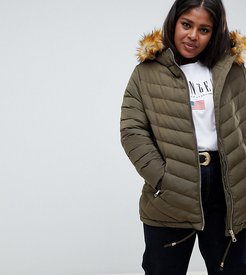 Quilted Jacket With Faux Fur Trim-Green