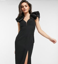 exclusive midaxi dress with ruffle and thigh split in black