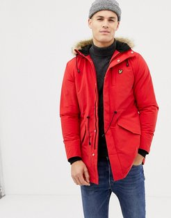 fleece lined hooded parka with faux fur trim in red