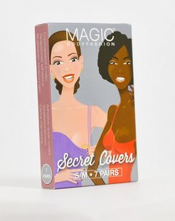 Bodyfashion satin rosette 10-pack water resistant nude secret nipple covers in fair-Beige
