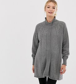 Mamalicious high neck nursing poncho sweater with open front-Gray