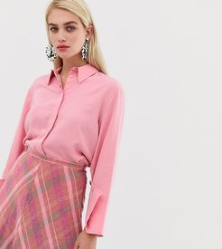concealed button shirt in Pink