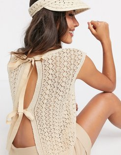 crochet knitted sleeveless t-shirt in beige