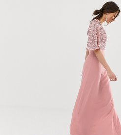 sequin top maxi dress with flutter sleeve detail in vintage rose-Pink