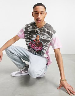 oversized T-shirt with Biggie Smalls print in pink tie dye
