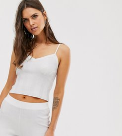 cami top in wide rib knit two-piece-White