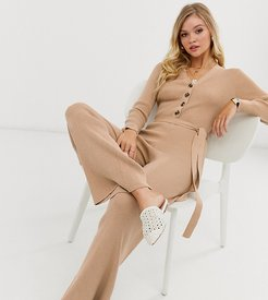 Luxe belted button through knitted jumpsuit-Beige