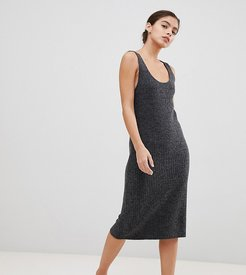 Luxe midi dress with scoop neck in rib knit-Gray