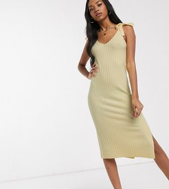 Micha Lounge relaxed midi dress with tie shoulders-Yellow