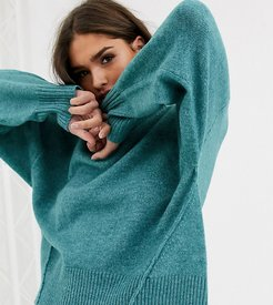 relaxed sweater with balloon sleeves-Green