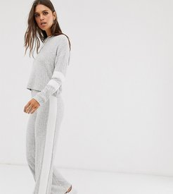 wide leg pants in rib two-piece-Gray