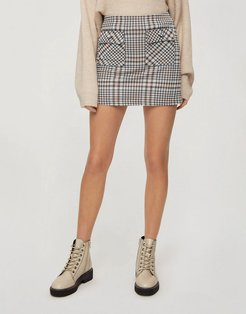 button through mini skirt in pink check