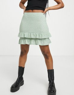 mini skirt with ruffle hem in green