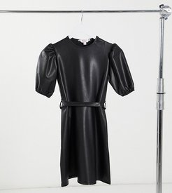 faux leather puff sleeve mini dress in black