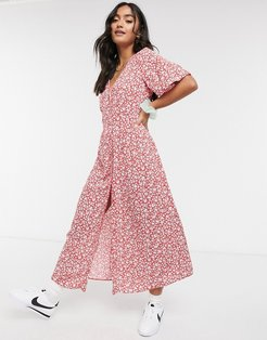 pintuck midi dress in red ditsy floral