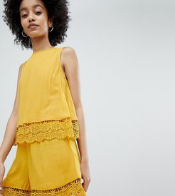 romper with double crochet layer in ochre-Yellow