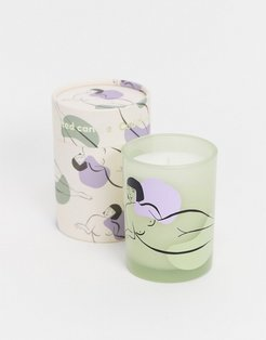 Anna lady print candle in white