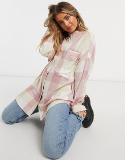 Carrie organic cotton check plaid shirt in pink