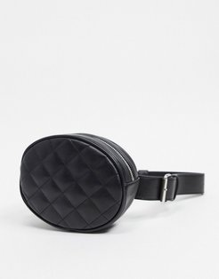 faux leather quilted fanny pack in black