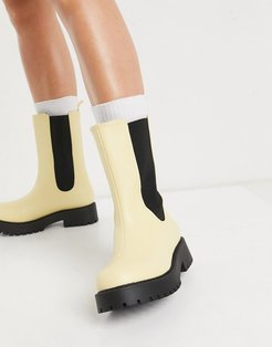 Maddie faux leather chunky sole boot in yellow