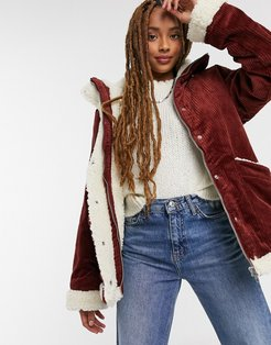 Shea cord faux shearling lined jacket in brown