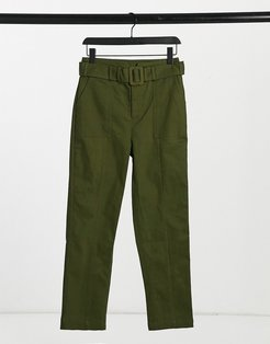 belted pants in olive green
