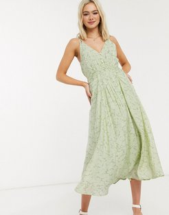 patterned ruched front midi dress-Green