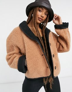 teddy bomber jacket in brown