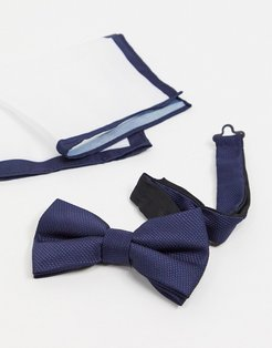 Moss London textured bow tie & pocket square set in navy