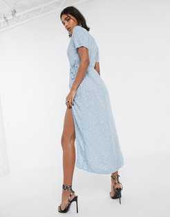 midi dress with thigh split in ditsy rose floral-Blue
